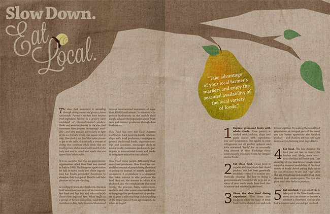 Slow Down, Eat Local Magazine Spread